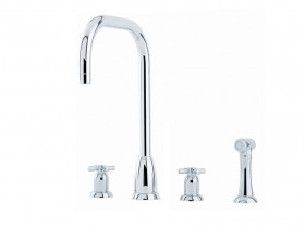 CALLISTO FOUR HOLE SINK MIXER WITH 'U' SPOUT AND CROSSHEAD HANDLES AND RINSE 4892
