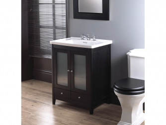 Radcliffe Esteem vanity unit 2 woodenfrosted glass doors, 2 drawers