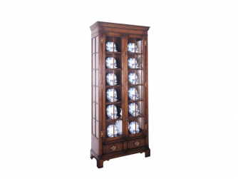 Titchmarsh & Goodwin English Oak Display Cabinet with Glass Shelves